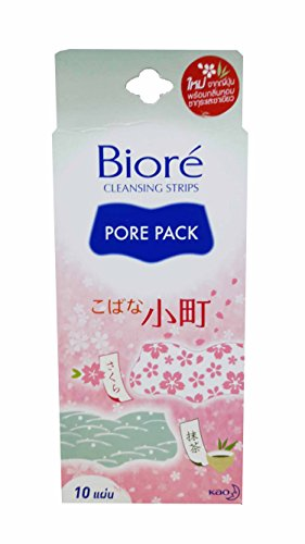 Price comparison product image 4 Packs of Biore Cleansing Strips Pore Pack. Help to remove blackheads effectively while giving you relaxation from Cherry Blossom and Green Tea scents. (10 Strips / Pack)