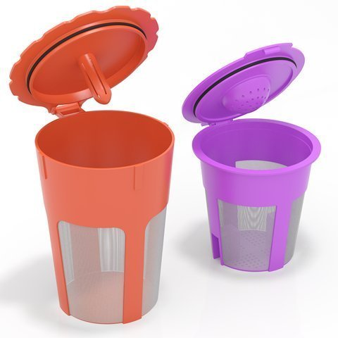 mzos- Reusable K Carafe & K Cup Coffee filter for Keurig 2.0. K200, K300, K400, K500 Series. 2 pcs