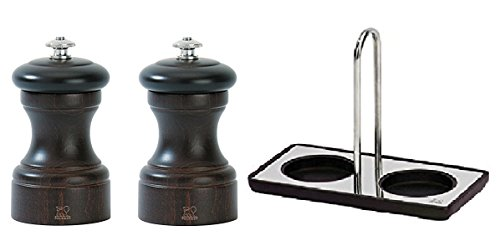 Peugeot Bistro Salt & Pepper 4 Inch Mill's with Peugeot Wood/Stainless Steel Linea Tray set, Chocolate