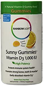 Rainbow Light - Sunny Gummies Vitamin D3 1,000 IU, 100 Count, Immune Health, Sour Lemon Flavor