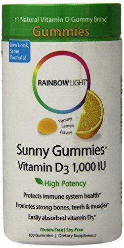 Rainbow Light - Sunny Gummies Vitamin D3 1,000 IU, 100 Count, Immune Health, Sour Lemon Flavor