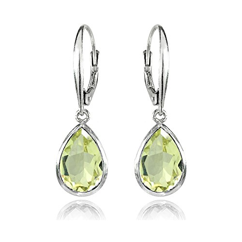 Sterling Silver Simulated Lime Quartz Teardrop Dainty Leverback Dangle -