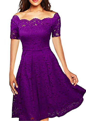 LITTLEPIG Women's Vintage Floral Lace Formal Dresses for Any Plus Size Women Boat Neck Swing Cocktail Dress for Wedding (XXL, Purple3)
