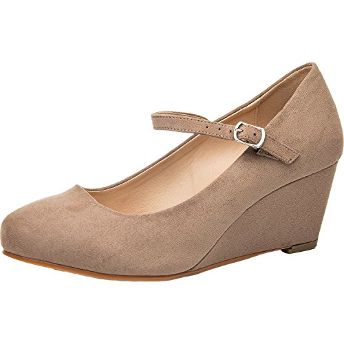 bd48c03c847 Luoika Women s Wide Width Wedge Shoes - Ankle Strap Mary Jane Dress Shoes  Heel Pump