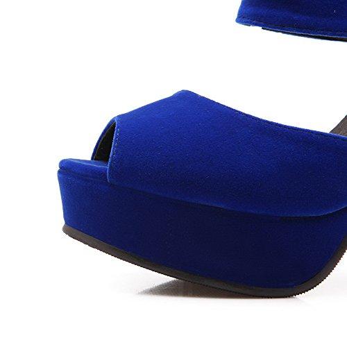 AgooLar Women's Peep Toe Pull On Blend Materials Solid High-Heels Sandals Blue oEMFDf0