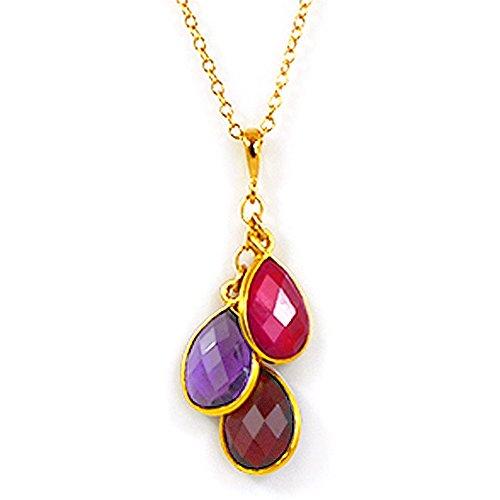 Mothers necklace with 3 teardrop Birthstones (22) (Peridot Pendant Stone Amethyst 3)