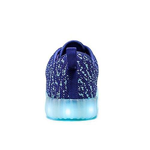 SanHai LED Leuchten Schuhe Mädchen Junge LED Energy Lights Mode Sneaker (Kinder Tenns Erwachsene) Blau