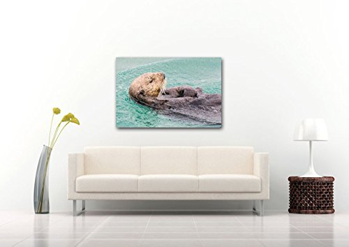 Personalized CANVAS Gift for Child Teal Nursery Decor Adorable Otter Print Sea Animal Photography Bright Digital Wall Art Alaska Ocean Wildlife Nature Photo Ready to Hang 8x12 12x18 16x24 20x30 24x36 by Nancy J's Photo Creations