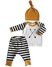 3Pcs/Set Newborn Baby Girl Boy Striped Long Sleeve Tops...