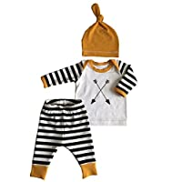 3Pcs/Set Newborn Baby Girl Boy Striped Long Sleeve Tops Pant Hat Outfits Clot...