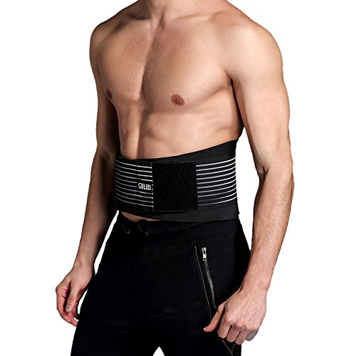 Lumbar Lower Back Brace and Support Belt By Cotill - 8 stable Splints for Back Pain Relief - Dual Adjustable Straps and Breathable Mesh Panels (L/XL) (Magnetic Lower Back Support Belt)