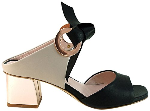 Gianni Marra Women's 4057 Open Toe Heels Black (Nappa Nera+nappa Sabbia+specchio Oro Rosa 18311) zJllYsrY