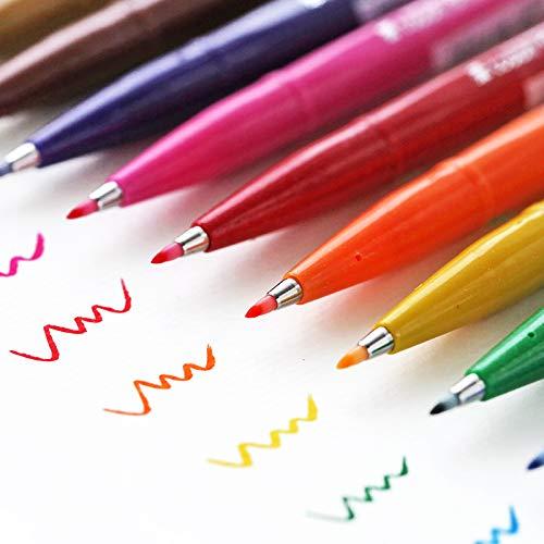 Vann92 12 Colors/Set Fude Touch Sign Pen Felt Pen Brush Stroke Flexible Point Marker Pen Assorted Color for Drawing