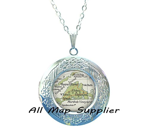 Charming Locket Necklace,Martha' Vineyard vintage map Locket Pendant, map jewelry resin Locket Pendant, map Locket Necklace photo Locket (Halloween Martha's Vineyard)