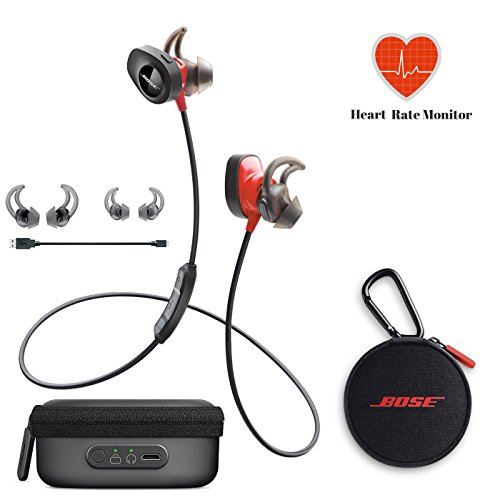 Bose SoundSport Pulse | Sport Heart Rate Bluetooth Wireless In-Ear Headphones - Red & Charging Case - Bundle by Bose