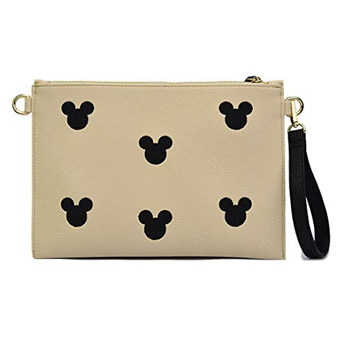Designer Clutch for Genuine Beige With Printed Wristlet Large Strap Leather Wallets Women OxqBF