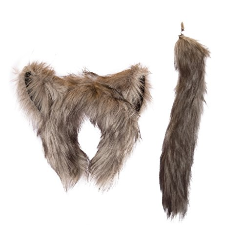 Life-like Wolf Ears Headband and Tail Set for Zoo Animal Party and Wolf Costume Cosplay (Toddler Wolf Costume)