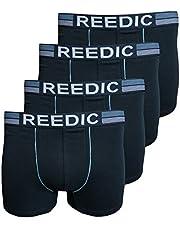 Reedic Herren Boxershorts, Baumwolle, 4er Pack, Größe X-Large (XL), Farbe je 1x dunkelblau, dunkelblau, grau, schwarz