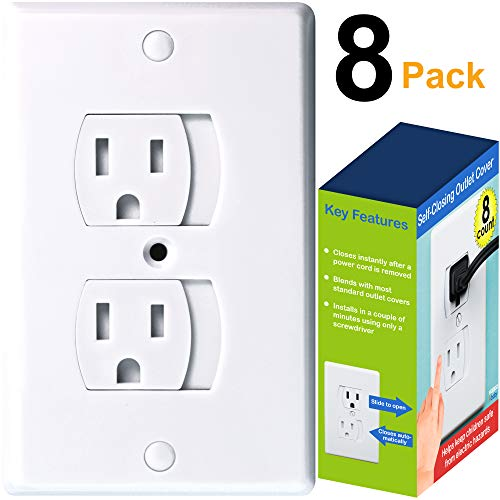 Universal Self-Closing Outlet Covers | Babyproofing Covers for Baby, Toddler and Children Safety, Automatic Slide Mechanism Plug Guards, Discreet Design (White, 8-Pack)