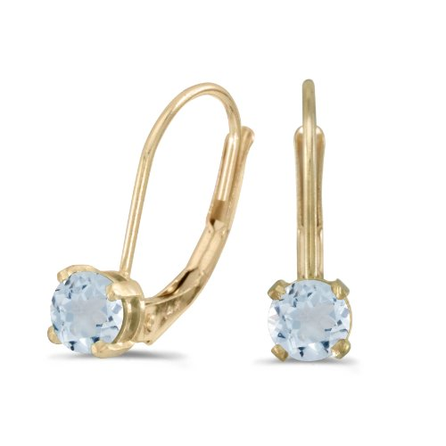 Leverback Aquamarine Earrings (14k Yellow Gold Round Aquamarine Lever-back Earrings)
