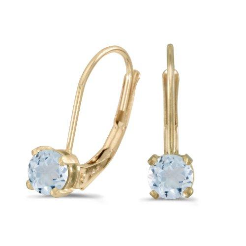 Aquamarine Earrings Leverback (14k Yellow Gold Round Aquamarine Lever-back Earrings)
