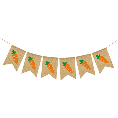 OULII EASTER Carrot Pattern Burlap Banner Flag Vintage Jute Bunting Garland for Happy Easter Party Hanging (Happy Carrot)