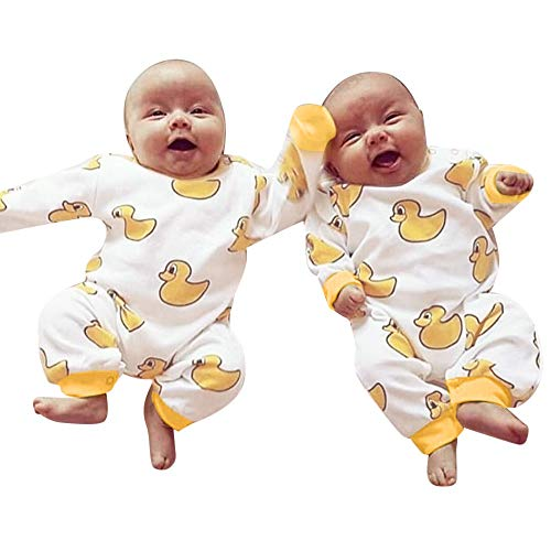AMSKY Newborn Baby Outfits for Boys,Newborn Toddler Infant Baby Boys Girls Cartoon Duck PrintRomper Jumpsuit Outfits,Baby Gift Baskets,White,90