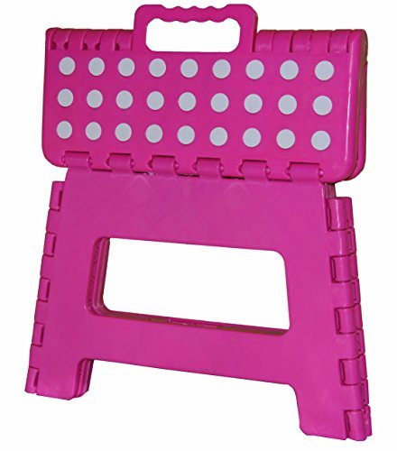 11'' Super Quality / Heavy Duty Folding Step Stool with handle, Non Slip for Adults and Kids, Saves Space, / Super Handy - Pink