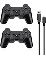 Powerextra PS3 Controller 2 Pack Wireless Dual Shock High Performance Gaming Controller with Upgraded Joystick for Playstation 3 Dual Shock PS3 Game Console