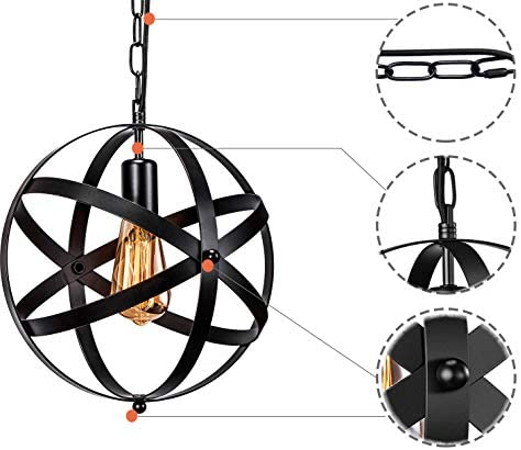 Industrial Plug in Pendant Light E26 E27 Industrial Hanging Light Metal Globe Vintage Pendant Light Fixture with 14.8Ft Hanging Cord and ON Off Switch 2 Pack