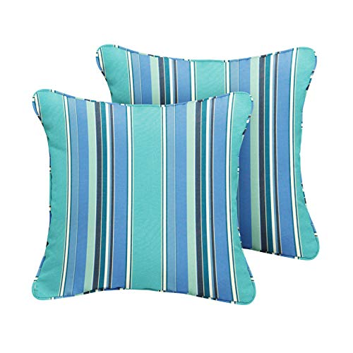 1101Design Sunbrella Dolce Oasis Corded Decorative Indoor/Outdoor Square Throw Pillow, Perfect for Patio Decor - Blue Teal Stripe 16