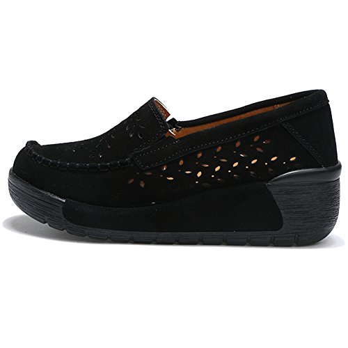 Slip Women Shoes On Moccasin Toe Work 588 Round Wedge STQ Platform 2 Black Hollow Loafers Suede Comfort SdIqwWRF