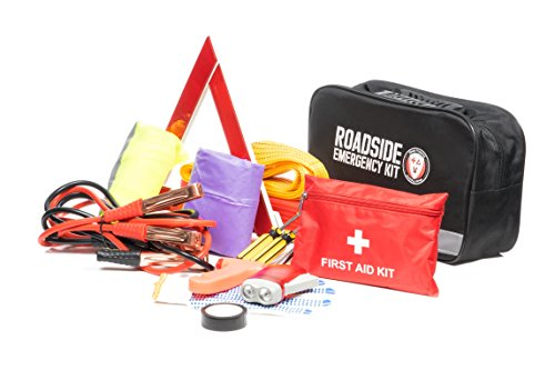Roadside Assistance Auto Emergency Kit First Aid Kit Jumper Cables Tow Rope LED Flash Light Rain Coat Tire Pressure Gauge Safety Vest More Ideal Winter Accessory For Your Car Truck Or SUV
