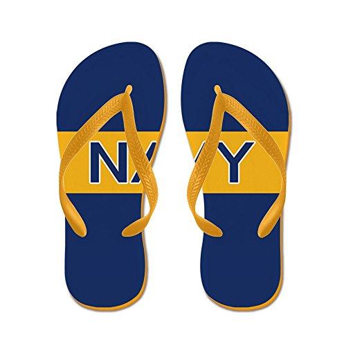 Cafepress Us Navy: Marine (gouden Streep) - Flip Flops, Grappige String Sandalen, Strand Sandalen Oranje