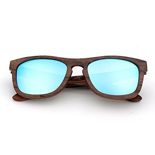 Protection Bois Pour Couleur Colorée Bleu Unisexe Classes Clair Style Handcraft adulte UV400 Bleu Soleil KOMEISHO Lunettes clair Rimmed De Lentille Simple 17IqaawxO
