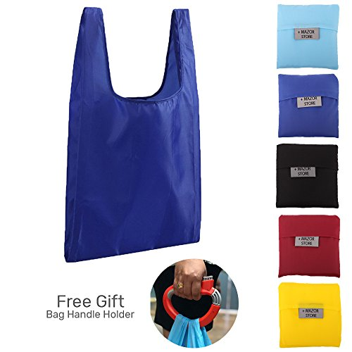 Reusable Grocery Bags 5 Pack + Bonus Grocery Bag Carrying Lock - Durable Lightweight Poly Tote, Rip Resistant Large Handles Eco Friendly shopping reusable bag Foldable Eco + Attached Pocket Pouch