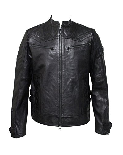 (Afflicrion Premium Diamond Quilting On Fire Men's Leather Jacket)