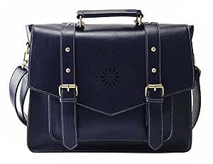 "ECOSUSI Women's Retro Faux Leather 14.7"" Laptop Crossbody Briefacase Messenger Bags, Blue"