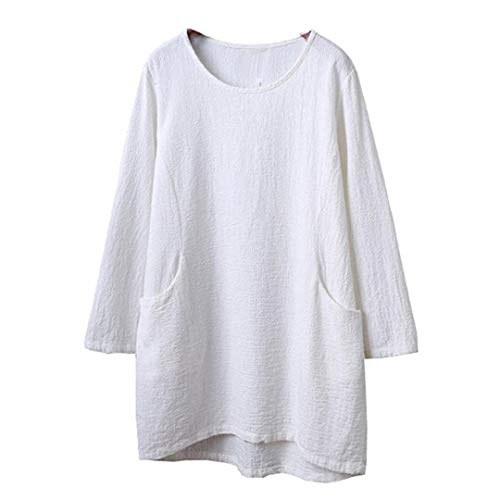 Maniche Ansenesna Donna Shirt in 5 Lino T A Bluse da 4 Donna E Taschino Bianca Corte da Cotone Eleganti pqwpvrB