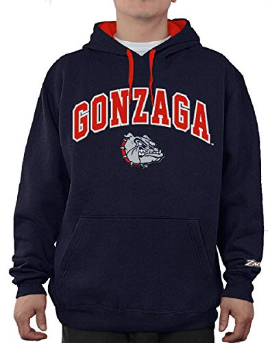 - E5 NCAA Men's Tackle Twill Logo College Classic Hoodie Sweatshirt (Medium, Gonzaga Bulldogs Blue)