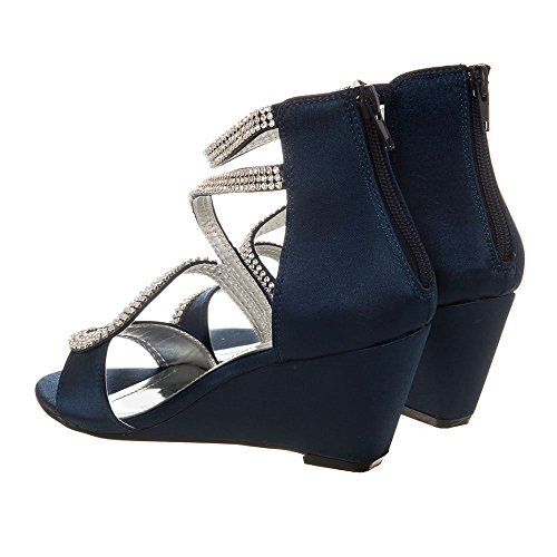Medium Wedge Heel Open Toe Ankle Strap Sandal Navy Satin zq6jqfud