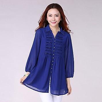 Mujer Camisas y blusas de mujer color azul/negro/naranja, Blusa, Camisa