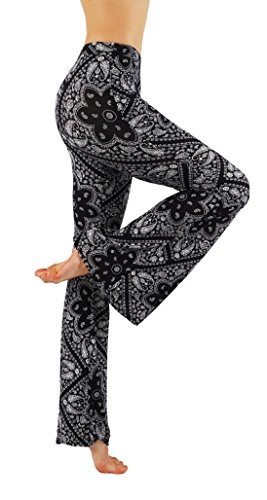 Vesi Star Yoga Bell Bottom Palazzo High Waist Gypsy Ethnic 70s Hippie Printed Pants (L, VS7FP01-16)