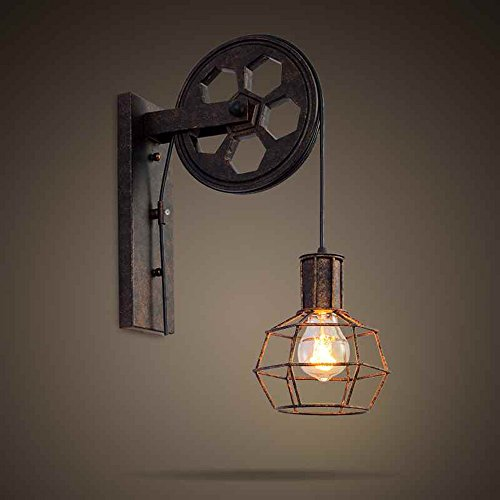 BAYCHEER HL458423 1 Light Wall Sconce Keyed Socket Pulley LED Industrial Wall Sconces Retro Wall Lights Fixture for indoor Lighting Barn Restaurant in Rust (Keyed Pulley)