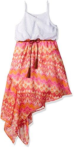 Sweet Heart Rose Big Girls' Sleeveless Crochet Bodice Printed Chiffon Dress With Belt, White/Multi, 16 (Dress Chiffon Multi)