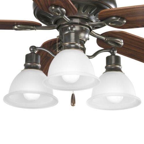 Progress Lighting P2623-20 3-Light Fan Light Kit, Antique Bronze - Progress Lighting Fan Kit