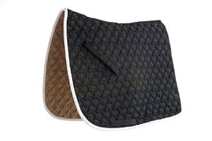 Roma Ecole Contrast Stitch Swirl Quilt Saddle Pad-Black/White [Misc.]