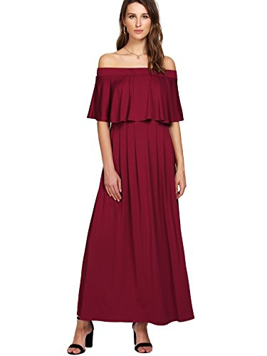 Milumia Women's Off The Shoulder A Line Neckline Ruffle Party Maxi Dress X-Large Red