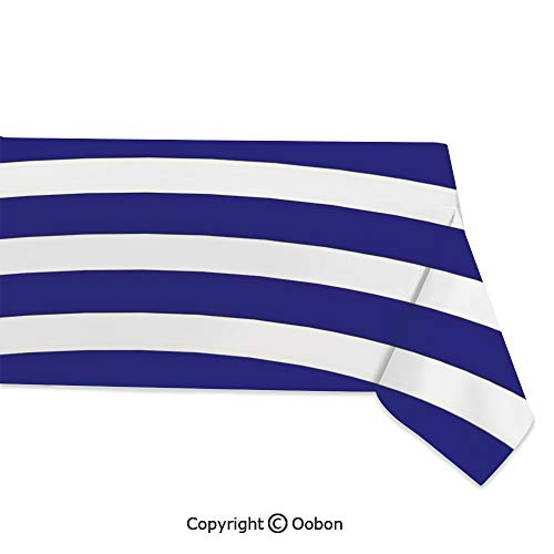 oobon Space Decorations Tablecloth, Nautical Marine Style Navy Blue and White Sailor Theme Geometric Pattern Art Print Decorative, Rectangular Table Cover for Dining Room Kitchen, W60xL84 inch