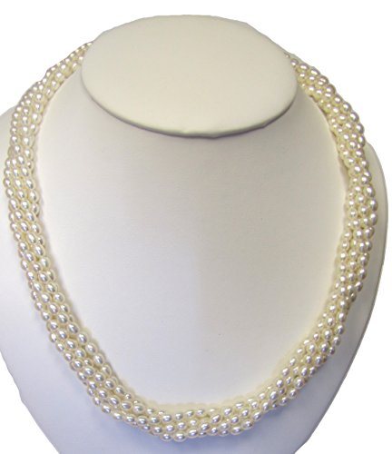 Clariel Designs Sterling Silver Fresh Water Cultured Pearl AAA Biwa Style Torsade/Tiwst Necklace, 5 Rows, 18